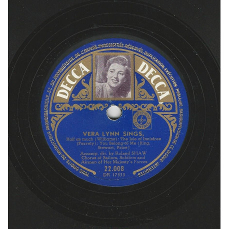 VERA LYNN SINGS 78T25 DECCA PHOTO N° 22008